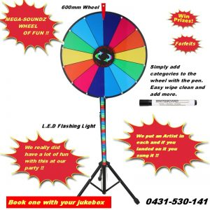 Great Party Game Spin The Wheel Works Great With Any Karaoke Jukebox Hire.